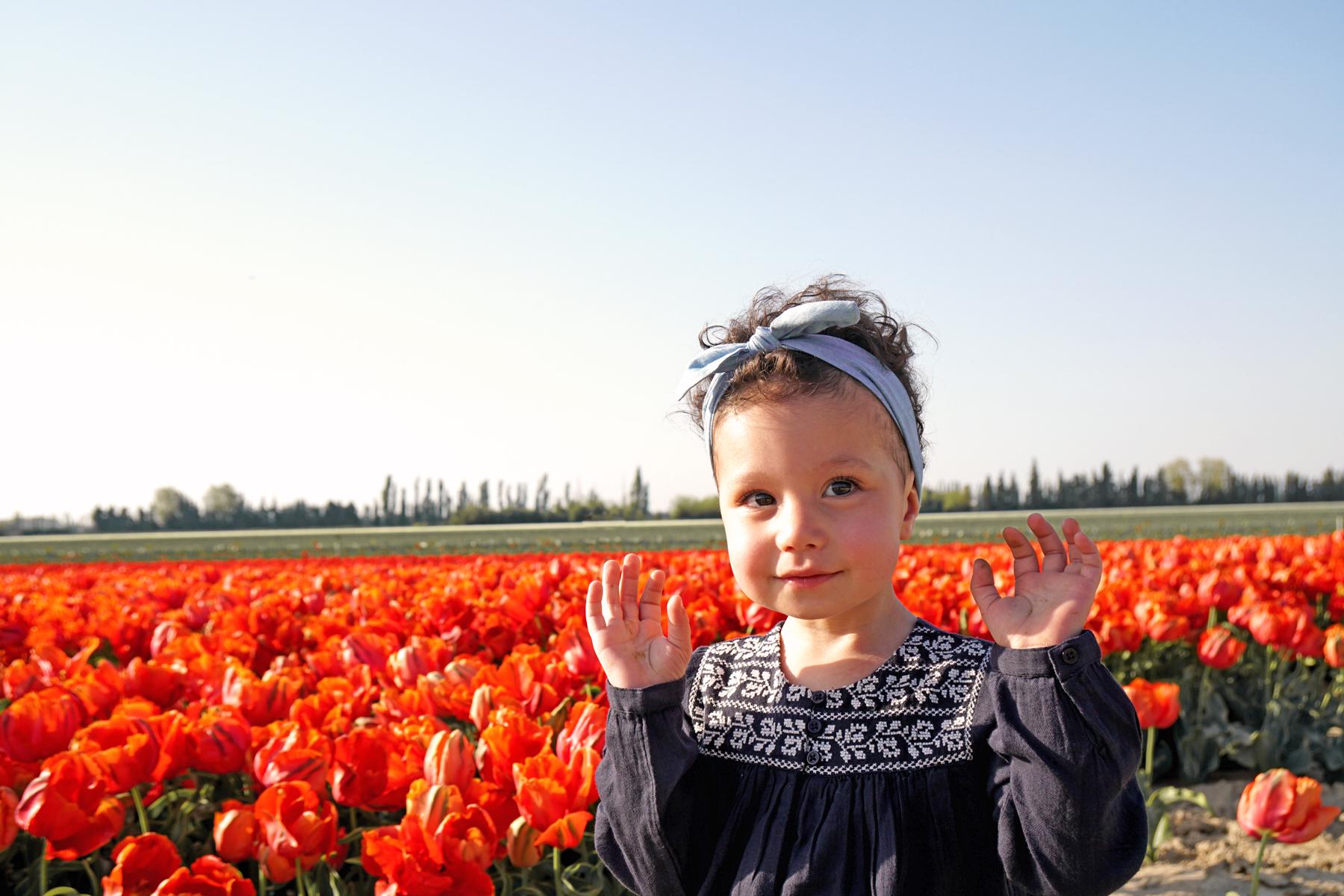 Petite fille dans un champs de tulipes