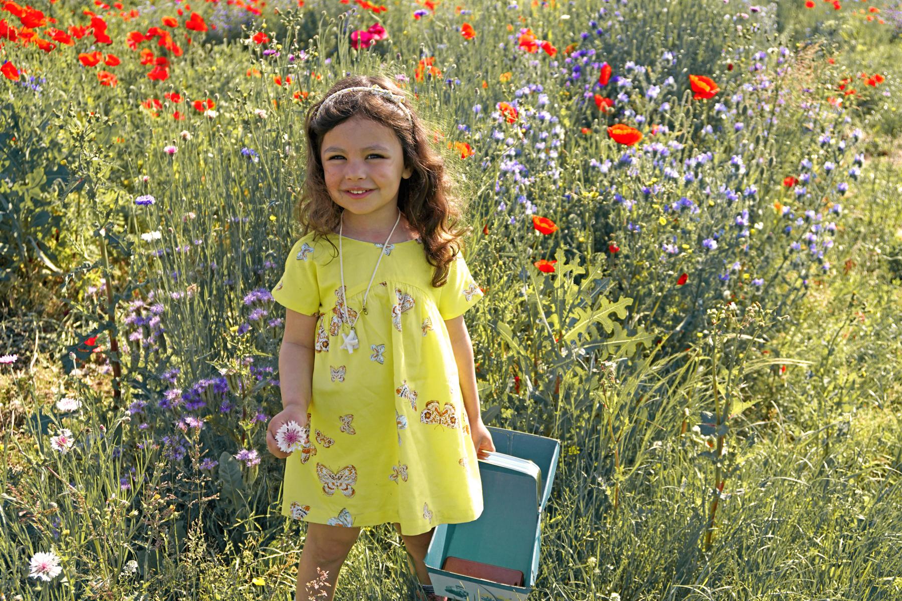 Petite fille dans un champs de fleurs à Fraisochamps, Thil