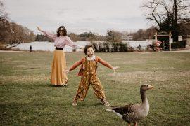 En famille, les Oies du parc de la tête d'Or à Lyon